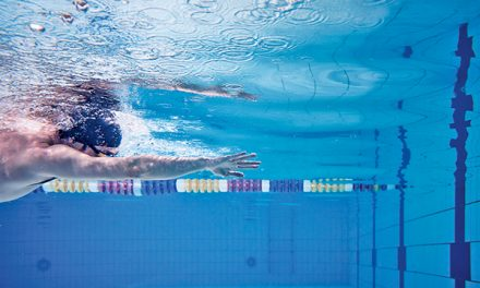 An open hand helps achieve relaxed swimming