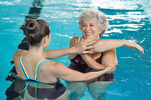 When warming up for swim, be sure to stretch your muscles