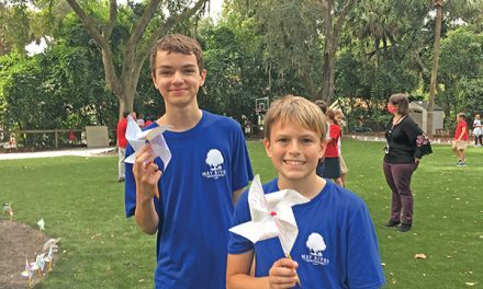 Montessori students show peaceful intentions with pinwheels